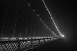 Clifton Suspension Bridge at night in the fog - Black and White