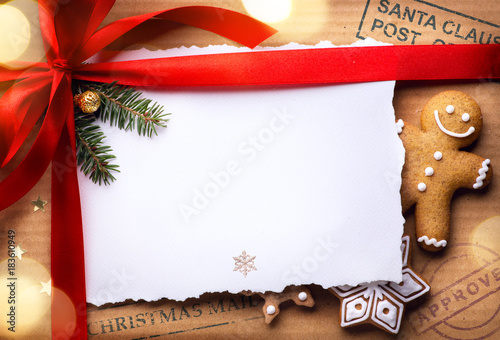 Christmas post holidays surprise; Christmas greeting card background