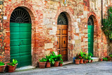Charming floral decorated old streets of medieval towns of Italy.