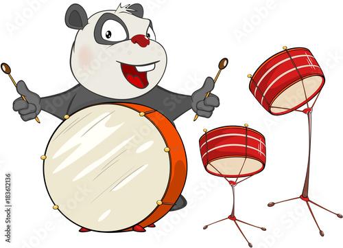 Deurstickers Babykamer Illustration of a Cute Panda Drummer. Cartoon Character