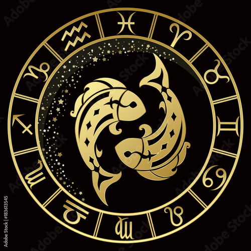 Pisces zodiac sign on a dark background with round gold frame © Jena_Velour