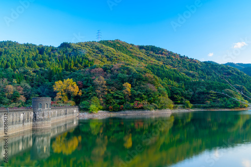 Foto op Canvas Blauw 秋の河内貯水池