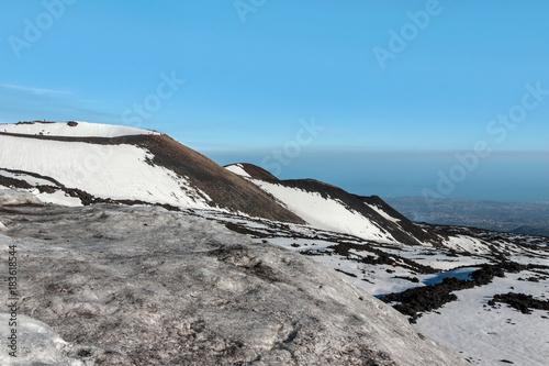 Foto op Canvas Donkergrijs snow on mount etna in winter
