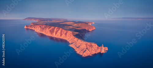Fotobehang Arizona ProRes. Baikal lake shore and rocks from aerial view. Landscape.