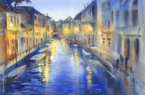 Venetian night lights watercolor © Egle