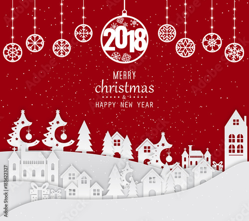 Wall mural Happy New Year 2018 and Merry Christmas Background, Carte de voeux - New year greeting card. 2018 Happy New Year Background for your Seasonal Flyers and Greetings Card.