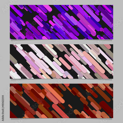 Seamless abstract random diagonal stripe pattern banner background template design set - horizontal rectangle vector graphics from rounded stripes in colored tones