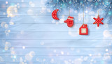 Christmas Background with Ornaments - 183622591