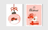 Hand drawn vector abstract fun Merry Christmas time cartoon cards collection set with cute illustrations,surprise gift boxes,dogs and handwritten modern calligraphy text isolated on white background - 183624561