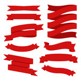 Vector banner ribbons. Flat vector ribbons banners flat isolated on white background. - 183625944