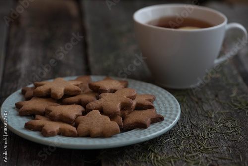 Sticker Christmas cookies and a mug of tea