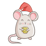 Cute and funny fat mouse holding cheese, wearing Santa's hat for Christmas and smiling - vector. - 183628114