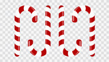 Sweet candy cane on a transparent background. Decoration for the new year. Vector Illustration. - 183629544