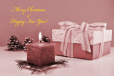 Monochrome Christmas background, vintage greeting card with burning candle - 183632169