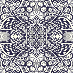 Abstract handmade Zentangle Zendoodle  seamless pattern   black on white for coloring page or adult relax coloring book or for decoration package or for wallpaper and other things