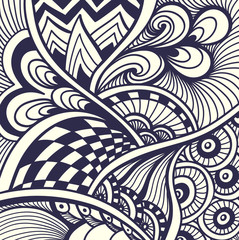 Abstract handmade Zentangle Zendoodle  background  black on white for coloring page, or adult relax coloring book or for decoration package or for print on T-Shirt or for wallpaper and other things