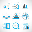 data analytics icons, chart and graph icons
