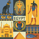 Egypt travel poster concept. Vector illustration with Egyptian culture and nature images, including pyramid, Anubis, Bastet, Tutankhamen, scarab and mosque. Isolated on background. - 183633770