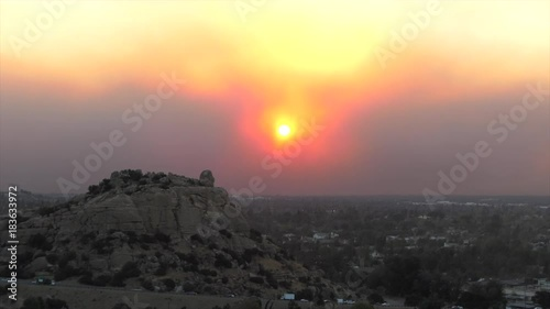 Los Angeles smoke filled sunrise sky. View from Stoney Point in the west San Fernando Valley.