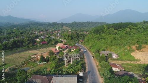 Keuken foto achterwand Blauwe hemel Laos autour de Viang Vieng vue du ciel