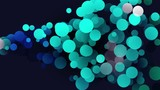 Rising circles particle animation, motion graphic abstract effect, blue and turquoise colors. - 183637153