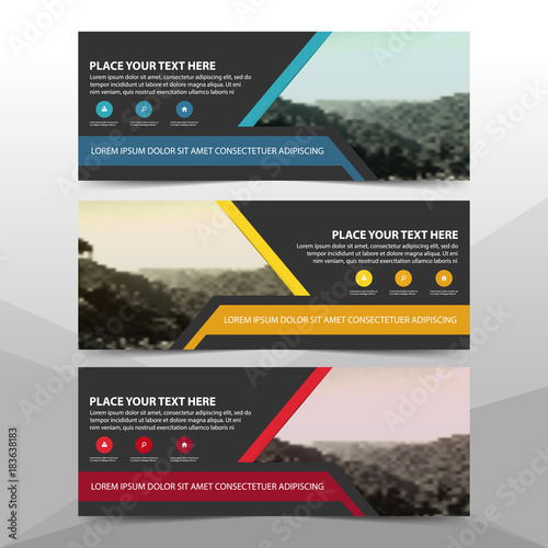 Blue Red Yellow Corporate business banner template, horizontal advertising business banner layout template flat design set , clean abstract cover header background for website design