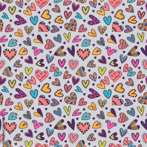 Cute seamless pattern with hand drawn hearts. Background for wedding or Valentine's Day design. Cute doodle elements