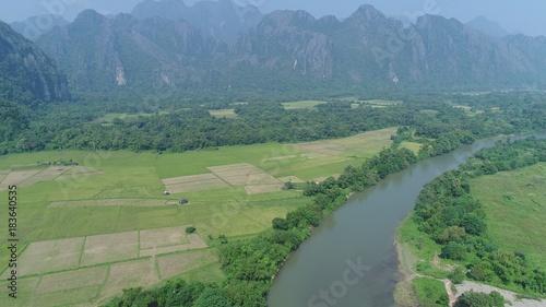 Foto op Aluminium Blauwe jeans Laos Viang Vieng vue du ciel