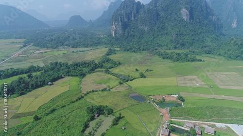 Plexiglas Olijf Laos Viang Vieng vue du ciel