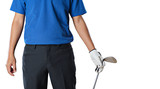 Golf player holding a golf club on white background