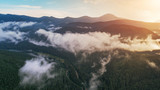 Carpathian mountains shot from drone at sunset - 183645160