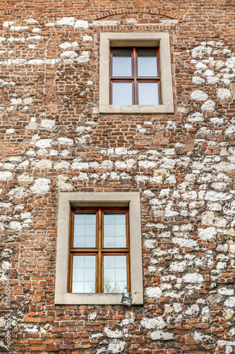 Keuken foto achterwand Krakau KRAKOW,POLAND - FEBRUARY 12, 2017: Wall with the windows at The Benedictine Abbey in Tyniec
