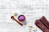 Lavender bath salt on wooden background top view copyspace - 183652184