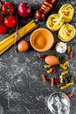 Italian food concept pasta ingredients on grey stone desk backgr - 183652505