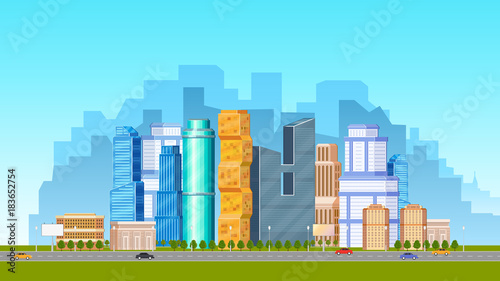 Foto op Plexiglas Turkoois City, urban scene with low and high rise buildings, skyscrapers and road with cars, flat vector illustration. Daytime cityscape, downtown scene with road, transport and city skyline in background