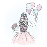 A girl with long hair in a beautiful dress. Balloons and a bouquet of flowers. Vector illustration for a holiday greeting card, poster, or print on clothes. Fashion and style, clothing and accessories - 183654749