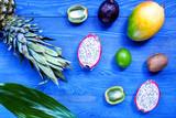 Exotic fruits. Pineapple, dragonfruit, mangosteen, mango, kiwi a - 183655183