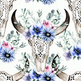 Watercolor bull's head with flowers and herbal seamless pattern. Hand drawn illustration. Ornamental skull on white background for wrapping, wallpaper, textile, prints