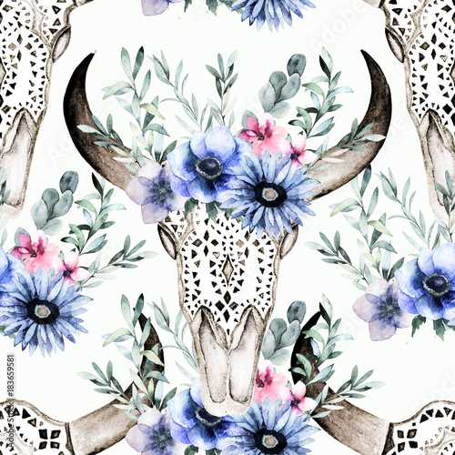 Watercolor bull's head with flowers and herbal seamless pattern. Hand drawn illustration. Ornamental skull on white background for wrapping, wallpaper, textile, prints - 183659581