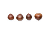 line of fresh chestnuts on white background - 183662573