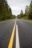 Straight asphalt road in Finland. Yellow and white marks. - 183668968