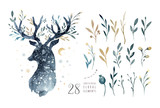 Watercolor closeup portrait of cute deer. Isolated on white background. Hand drawn christmas illustration. Greeting card animal winter design decoration - 183671369