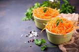 Fresh carrot salad on bowls - 183678174