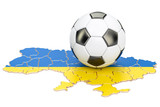 Football ball with map of Ukraine concept, 3D rendering - 183678377