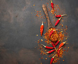 Red hot chili peppers on rusty background - 183678983