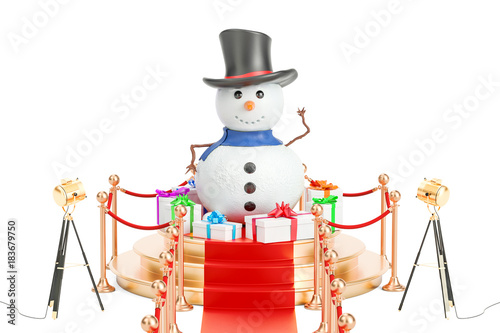 Snowman and gift boxes on the podium, 3D rendering