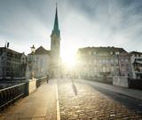 city center of Zurich with famous Fraumunster Church, Switzerland - 183681553