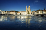 Zurich city center with famous Grossmunster and river Limmat, Switzerland - 183681561