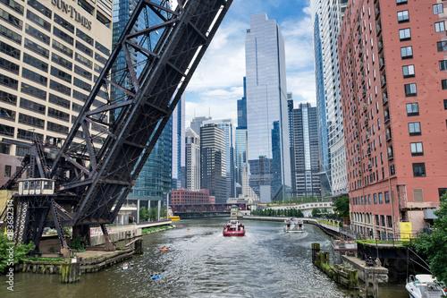 Poster Chicago Northern Riverwalk on North Branch Chicago River in Chicago, Illinois
