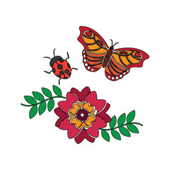 flower and ladybug butterfly leaves spring decoration vector illustration